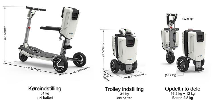 En el scooter som er nem at folde ud og som ikke fylder så meget